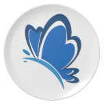 Placa de mariposa azul platos