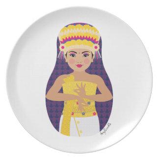 Placa de Matryoshka del bailarín del Balinese Platos De Comidas