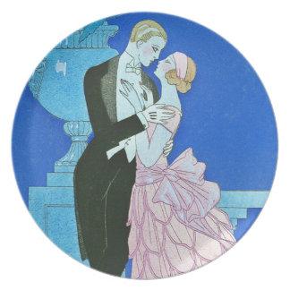 Placa de medianoche del art déco del beso platos para fiestas