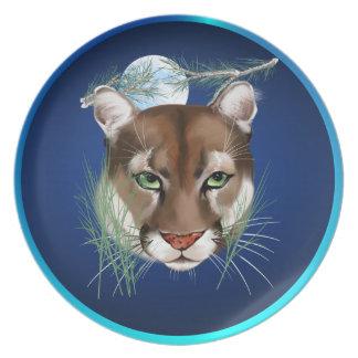 Placa de medianoche del león de montaña plato