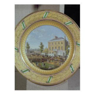 Placa de Meissen, adornada con una escena de Tarjeta Postal