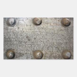 Placa de metal con los tornillos pegatina rectangular
