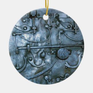 Placa de metal medieval adorno navideño redondo de cerámica