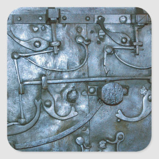 Placa de metal medieval pegatina cuadrada