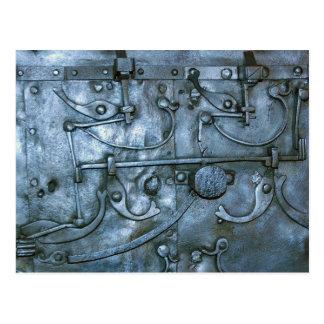 Placa de metal medieval postal