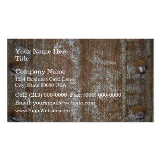 Placa de metal oxidada con los tornillos tarjeta de visita