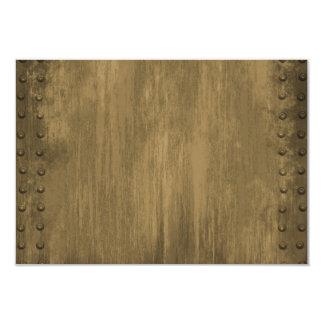 """placa de metal sucia clavada del oro invitación 3.5"""" x 5"""""""