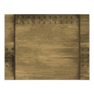 """placa de metal sucia clavada del oro invitación 4.25"""" x 5.5"""""""