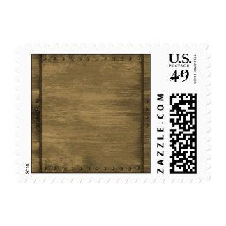 placa de metal sucia clavada del oro timbre postal