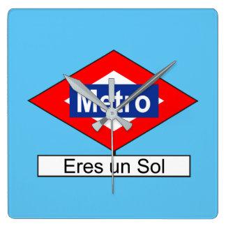 Placa de Metro Eres un Sol Reloj Cuadrado