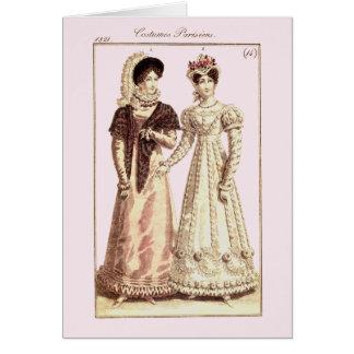 Placa de moda de Parisiens 1821 de los trajes Tarjeta De Felicitación