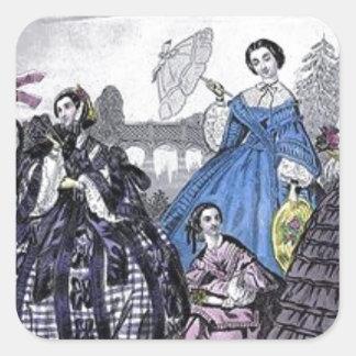 Placa de moda del Victorian del libro de las Pegatina Cuadrada