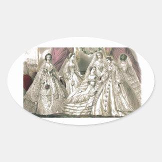 Placa de moda del Victorian del libro de las Pegatina Ovalada