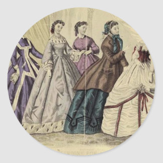Placa de moda del Victorian del libro de las Pegatina Redonda