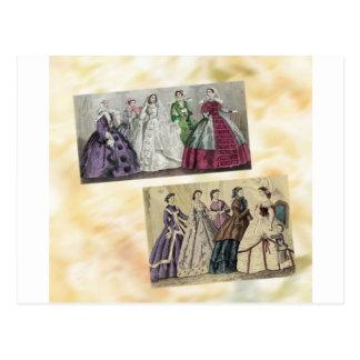 Placa de moda del Victorian del libro de las Postal