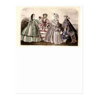 Placa de moda del Victorian del libro de las Tarjetas Postales
