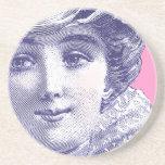 Placa de moda del vintage de la belleza de la époc posavasos manualidades