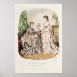 Placa de moda que muestra ballgowns impresiones