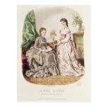 Placa de moda que muestra ballgowns postal
