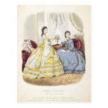 Placa de moda que muestra ballgowns postales