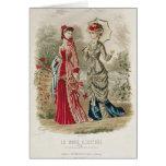 Placa de moda que muestra los gorras y los vestido tarjeta de felicitación
