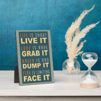 Placa de motivación del consejo de la vida