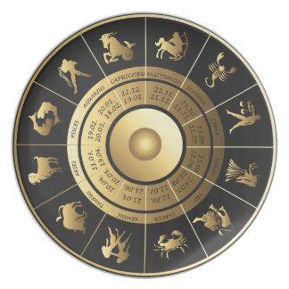 Placa de muestras hermosa del zodiaco en oro y plato para fiesta
