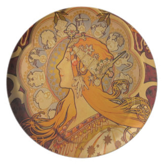 Placa de Nouveau del arte Platos