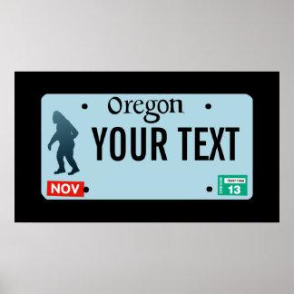 Placa de Oregon Sasquatch Impresiones