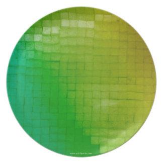 Placa de oro amarillo verde platos de comidas