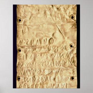 """Placa de oro con la """"breve"""" inscripción de Etrusca Impresiones"""
