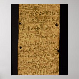 Placa de oro con la inscripción fenicia, de Santa Póster
