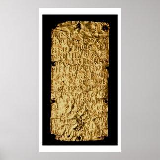 """Placa de oro con la inscripción """"muy larga"""" de Etr Póster"""