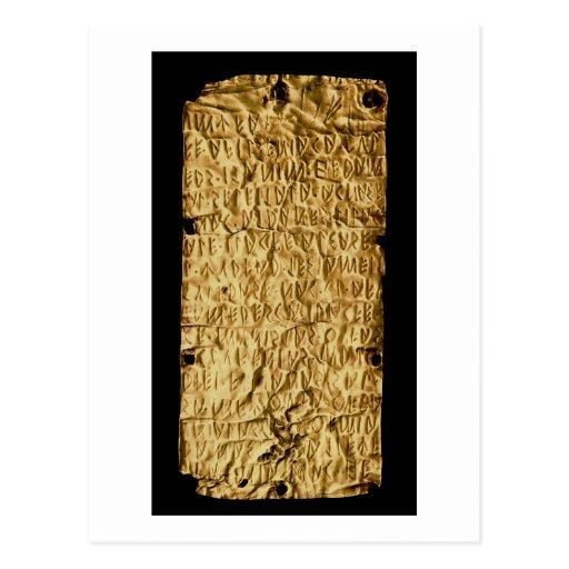 """Placa de oro con la inscripción """"muy larga"""" de Etr Tarjeta Postal"""
