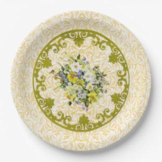 Placa de oro de la flor plato de papel de 9 pulgadas