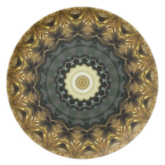 Placa de oro del caleidoscopio del navidad plato de comida