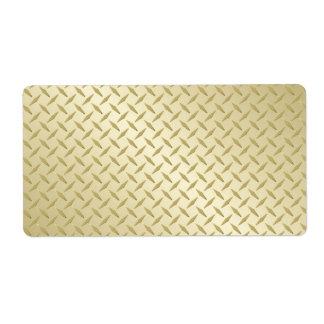 Placa de oro del diamante etiquetas de envío