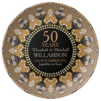 Placa de oro del regalo del aniversario del cordón plato de cerámica