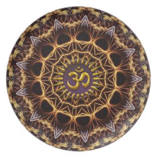 Placa de oro del símbolo de la armadura del fracta plato para fiesta