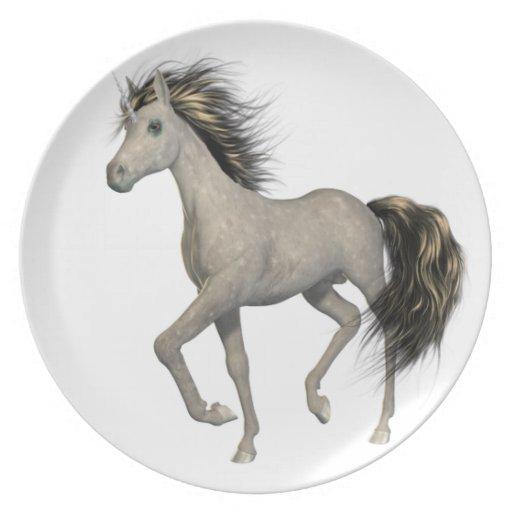 Placa de oro del unicornio plato