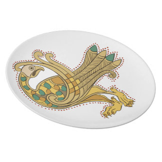 Placa de oro medieval céltica de la melamina del plato