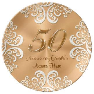 Placa de oro personalizada del aniversario de la plato de cerámica