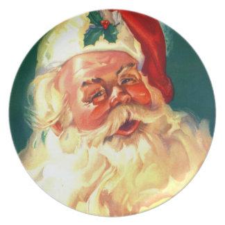 Placa de Papá Noel del vintage para el navidad de  Plato Para Fiesta