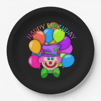 Placa de papel adulta del payaso del cumpleaños plato de papel de 9 pulgadas