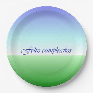 Placa de papel azulverde del cumpleaños español plato de papel 22,86 cm