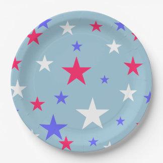 Placa de papel blanca roja de las estrellas azules plato de papel de 9 pulgadas