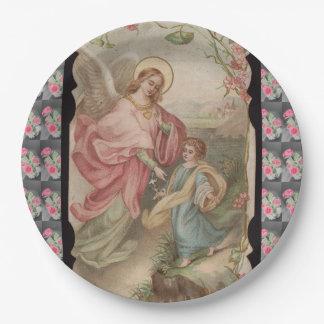 Placa de papel de Ángeles de los ángeles Plato De Papel De 9 Pulgadas