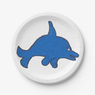 Placa de papel de Danny del delfín Plato De Papel De 7 Pulgadas
