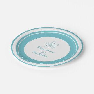 Placa de papel de encargo blanca de la aguamarina plato de papel 17,78 cm