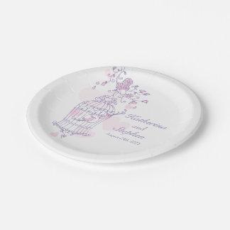 Placa de papel de encargo rosada de los pájaros platos de papel